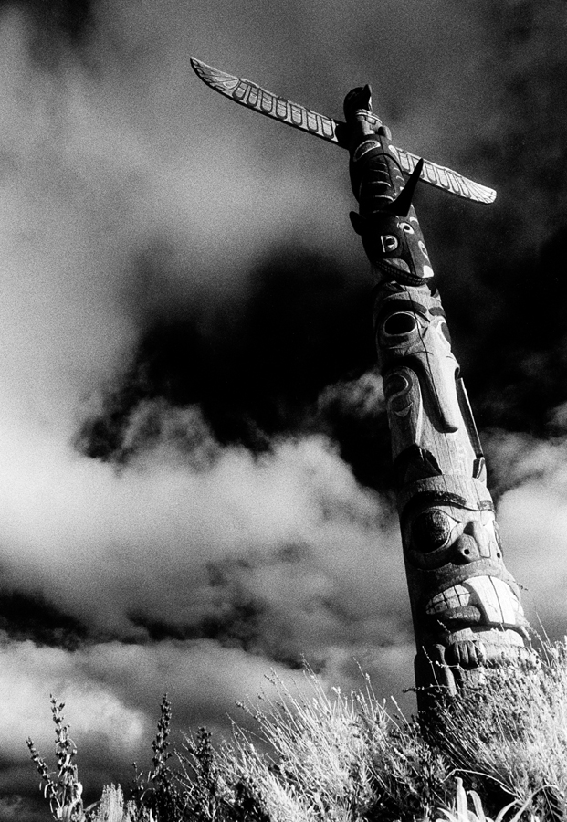 West Seattle Totem Pole in Black and White Infrared