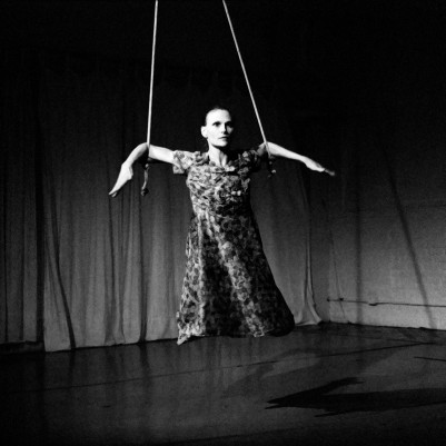 Black And White Photo Of The Aerial Dancer