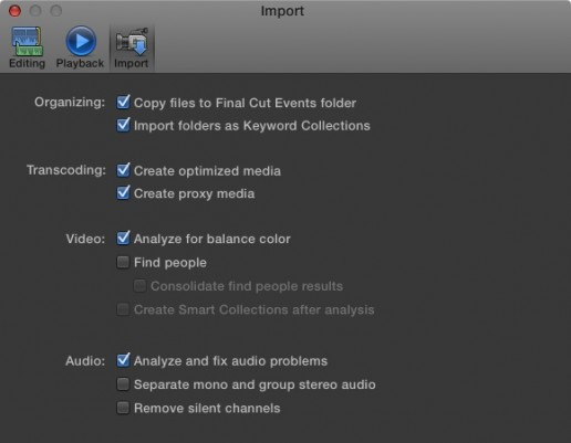 Final Cut Pro X Import Dialog Box