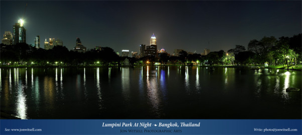 Free Panorama: PDF And Tif Of Lumpini Park At Night