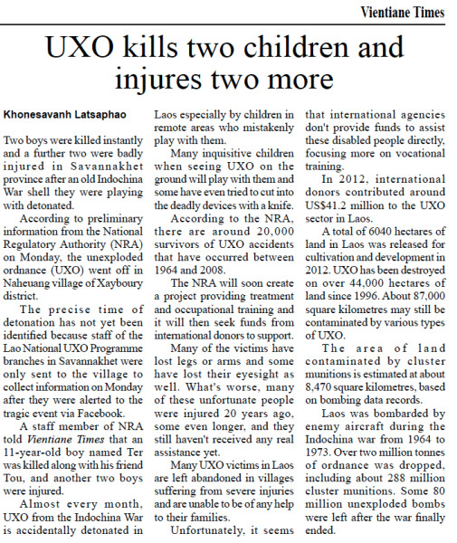 UXO Kills Children